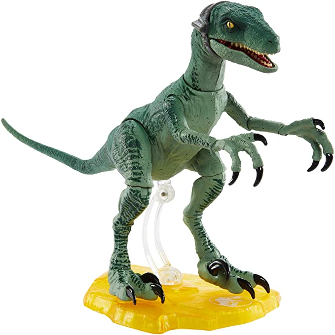 Amazon.com: Jurassic World Amber Collection Velociraptor Delta 6-in/15.24-cm Collectible Dinosaur Action Figure with Movie-Authentic Detail, Movable Joints & Figure Display Stand; for Ages 8 Years & Up: Toys & Games