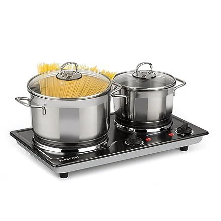 Klarstein Cookomaniac • Kochplatte • Platte • 2500 Watt Gesamtleistung • 2 Kochfelder • bis 320 Grad • Edelstahl • 2 x Thermo