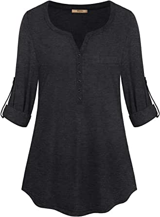 Miusey Womens Henley V-Neck 3/4 Roll-up Sleeve Tunic Blouse Button Tee Shirts