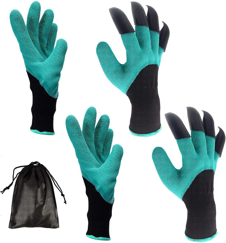 Garden Genie Gloves, Kaerott Garden Genie Gloves with Claws for Digging Planting (2 Pairs, Green)