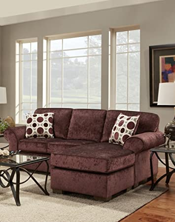 Delightful Chelsea Home Furniture Worcester Sofa Chaise, Prism Elderberry