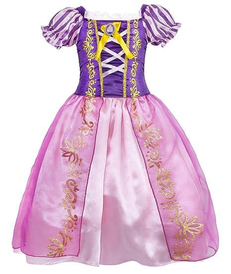 6842be97ba Amazon.com  Cotrio Rapunzel Dress Up for Girls Halloween Princess Costume  Birthday Theme Party Dresses  Clothing