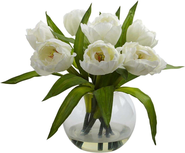 Silk White Artificial Tulip in Vase