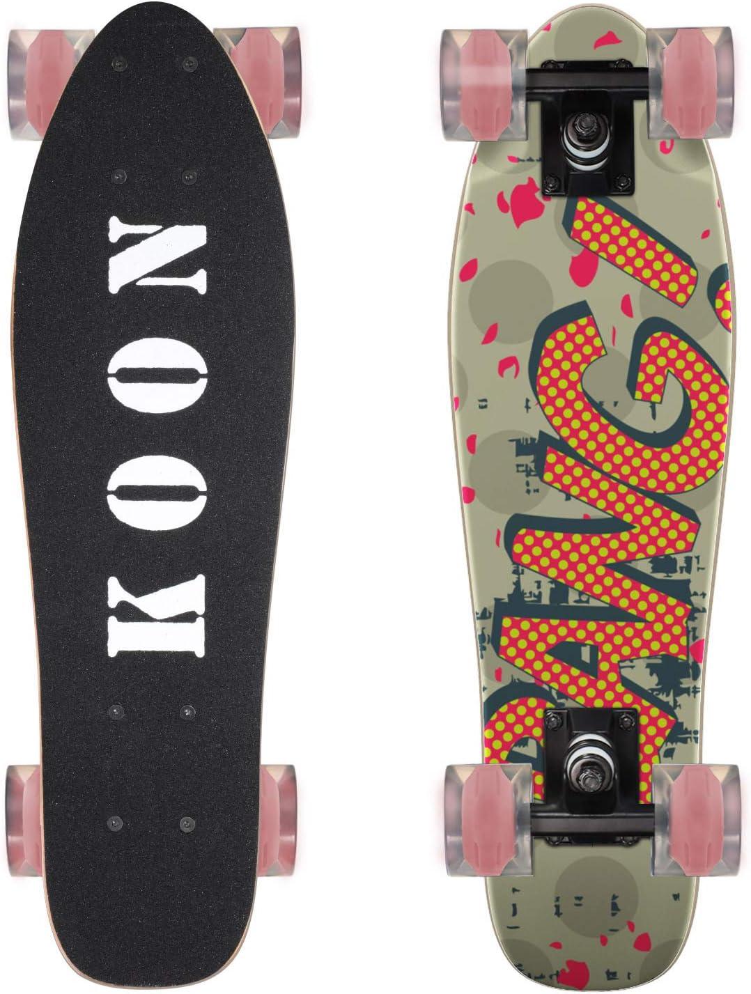 KO-ON Skateboards 22 Inch Complete Mini Cruiser Skateboard for Beginner Boys and Girls Grind Me