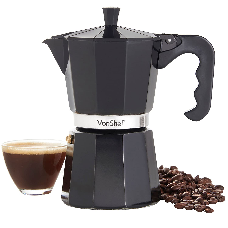 Acquisto VonShef Macchinetta per Espresso Italiano Nero per 6 Tazze di caffè Compresa Guarnizione e Filtro di Sostituzione Prezzi offerta
