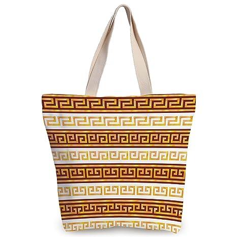 bc2e15e024 iPrint Cool Canvas Tote Bag,Toga Party,Ancient Greek Cultural Tribal  Geometric Meanders Figure