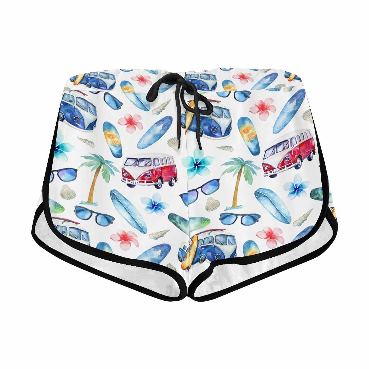 InterestPrint Women Seaside Travel Bus Sunglasses Perfomance Running Yoga Gym Workout Athletic Shorts S