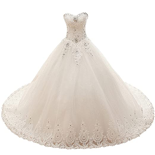 9991b2510f VIVIANSBRIDAL Sweetheart Long Bridal Wedding Dresses Ball Gown Princess  Tulle Wedding Dress for Bride