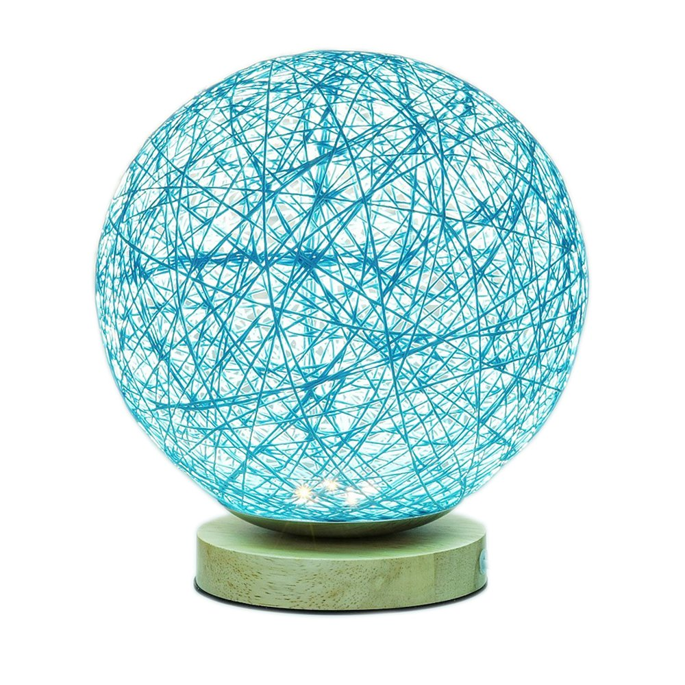 MaoJia Bedside Table Lamp, Rattan Ball Style Energy Saving Desk Bedside Lamp - Perfect LED Night Lamp for Living Room Bedroom Kitchen Home Dining Office and Bookcase Decoration-Blue by MaoJia