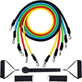 Exercise Resistance Bands Set 5pcs Strength Training Fitness Tubes Tension Bands with Handles, Door Anchor, Ankle Straps, Carry Bag, Workout Guides and Band Guard Equipment for Men and Women Stretching Home Gym