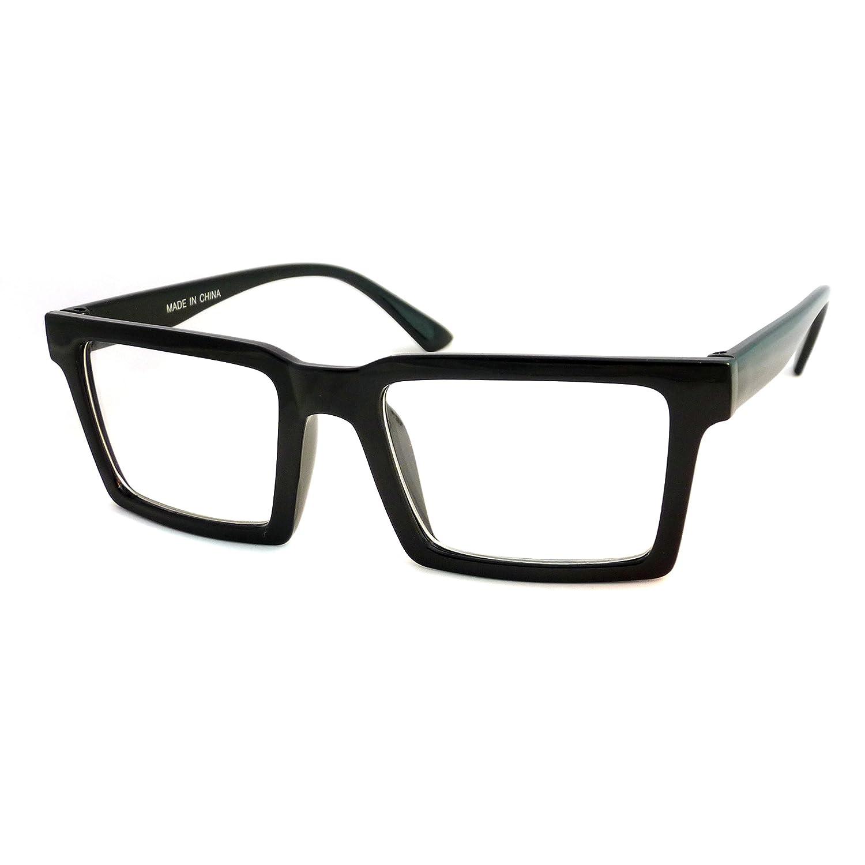 db3193681410f Amazon.com  RETRO Trendy Geometric Square Frame Men Women Clear Lens Eye  Glasses BLACK ...  Clothing
