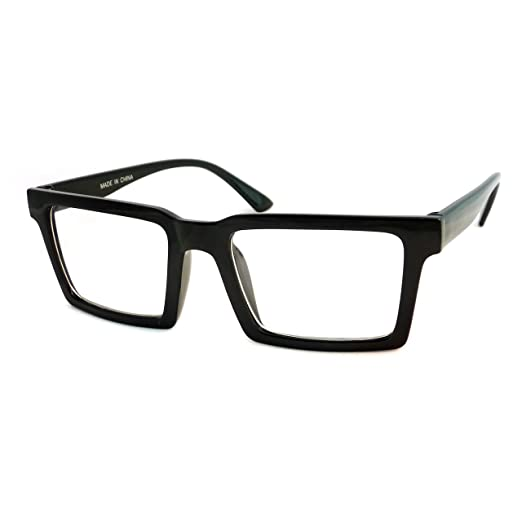 b1a328addde0 Amazon.com  RETRO Trendy Geometric Square Frame Men Women Clear Lens ...
