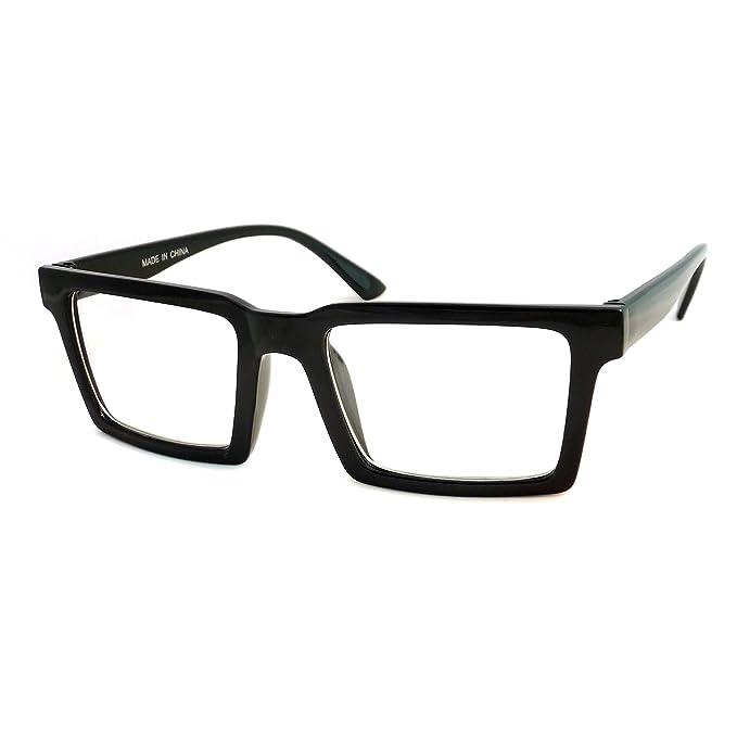 Amazon.com: RETRO Trendy Geometric Square Frame Men Women Clear Lens ...