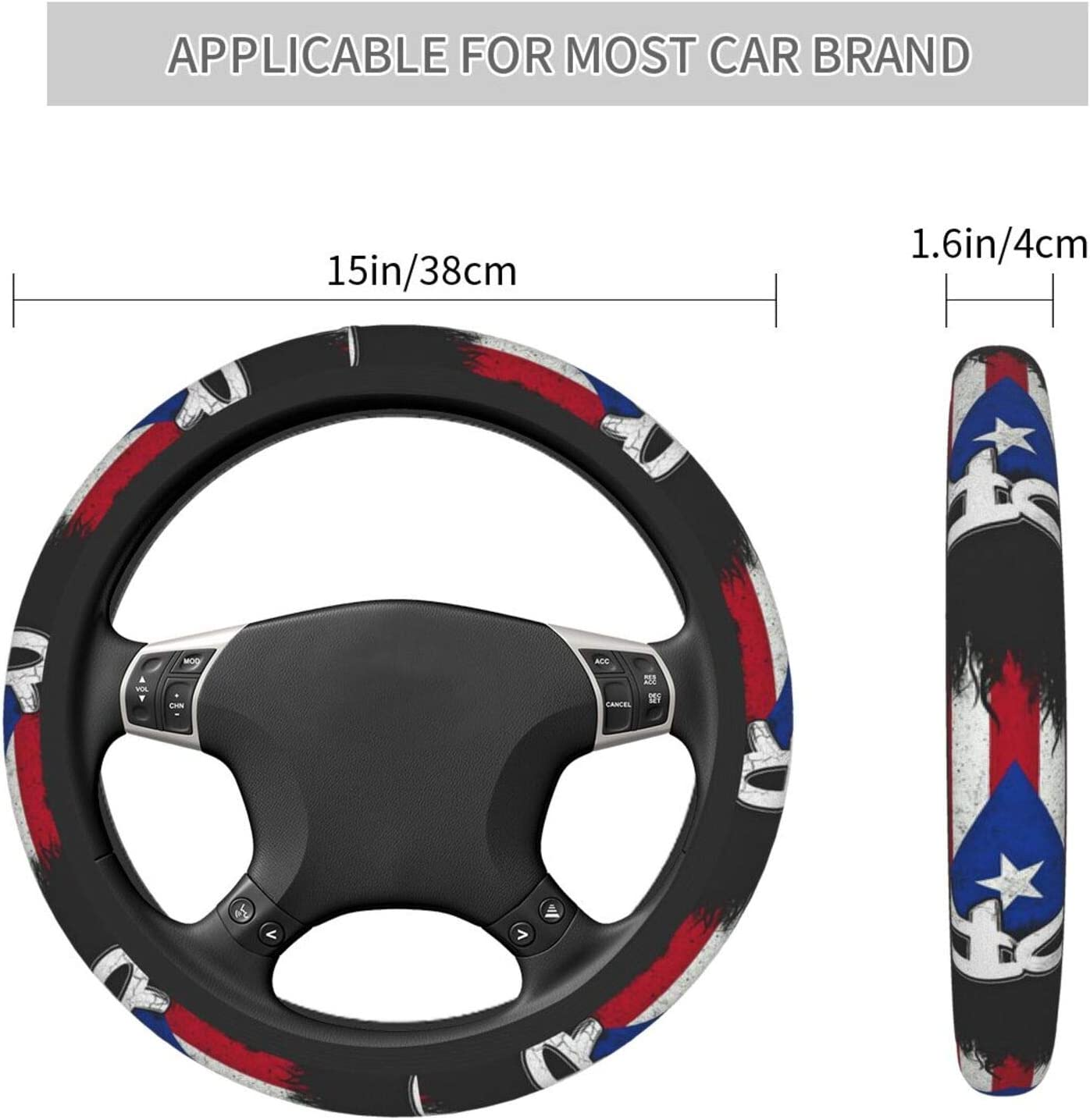 XTing Puerto Rico Pr Flag Steering Wheel Cover Auto Steering Wheel Cover Protector Anti-Slip Durable Universal 15 Inch Fit Most of Car