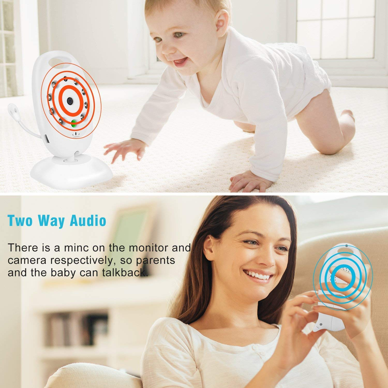 MixMart Video Baby Monitor mit Kamera VOX Gegensprechfunktion 2-Wege Audio Digitalkamera mit Temperatur/überwachung Schlaflieder Nachtsicht 2.0 Zoll LCD Babyfon Babyphone Wei/ß