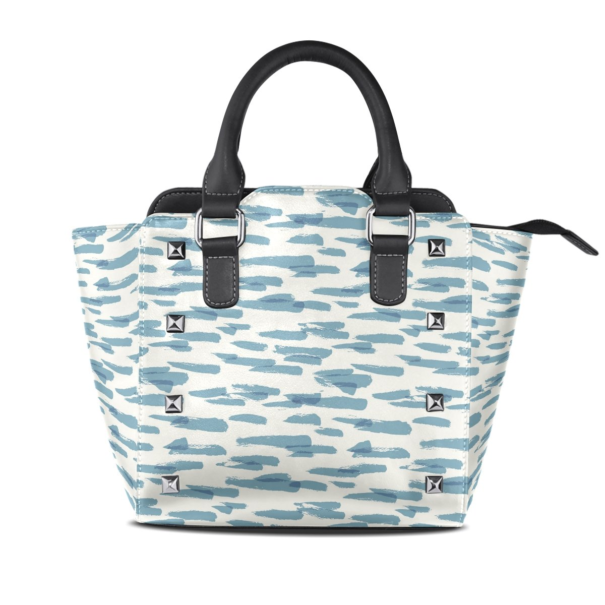 Womens Genuine Leather Hangbags Tote Bags bluee Pattern Purse Shoulder Bags