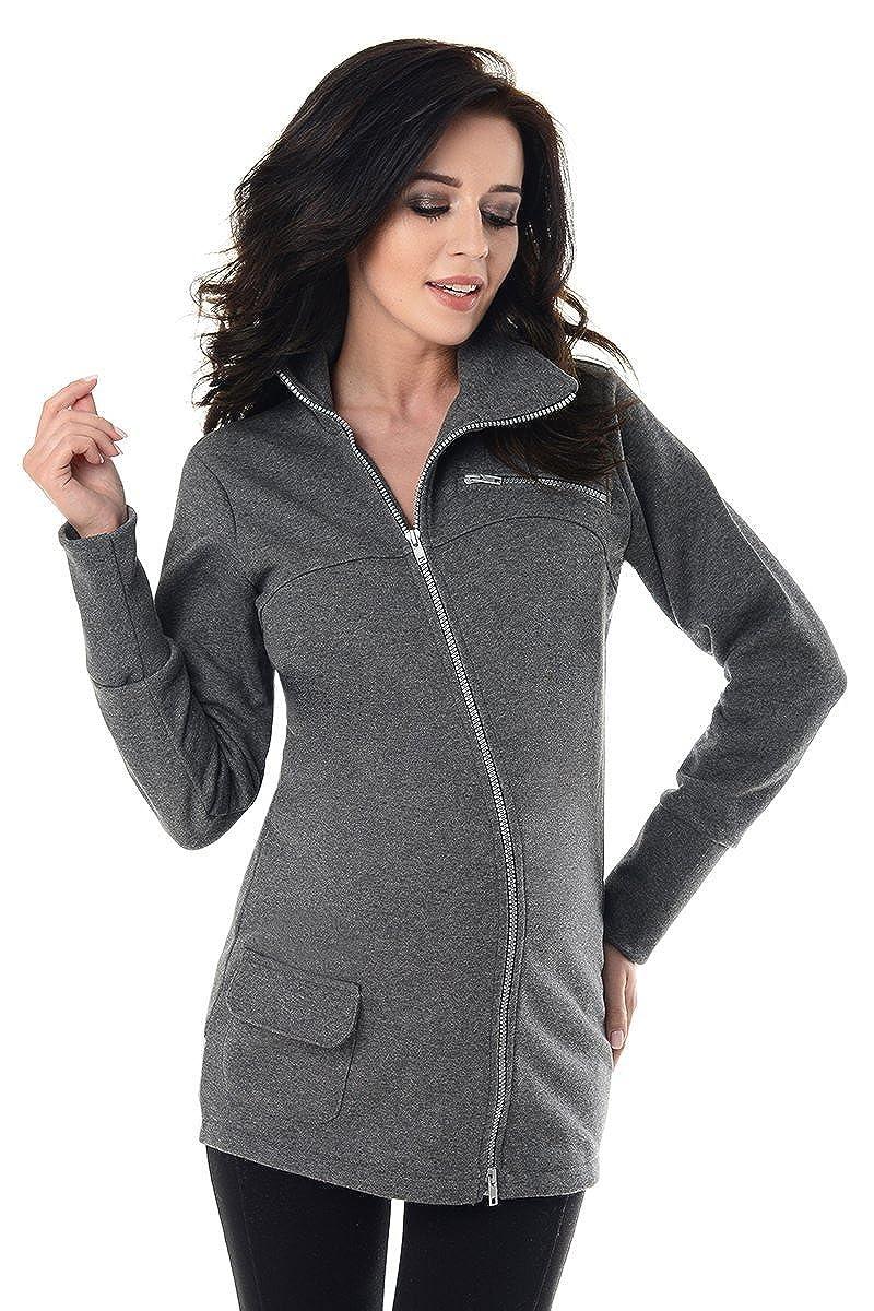 Purpless Maternity Across Body Zips Adjustable Pregnancy Sweatshirt Hoodie 9055