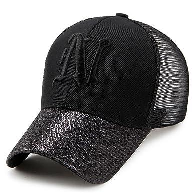 Llxln Glitter Baseball Cap Women s Cap Hip Hop Lady Embroidery Letter Hats  Mesh Sequins Snapback Hat Summer Sun Hat Bone Casquette Black  Amazon.co.uk   ... 57cae7252090