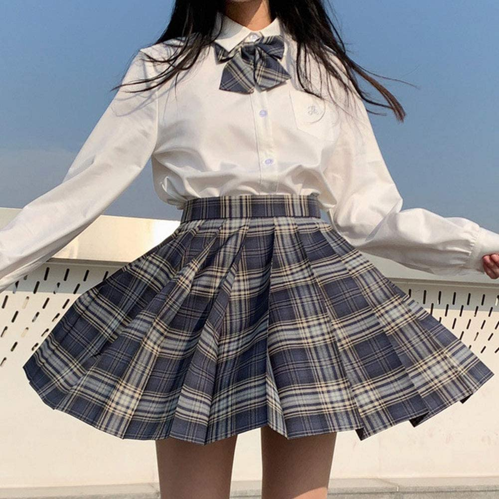 YILEEGOO Teen Girls Plaid Skirt Short High Waist Pleated Skater Tennis Skirt School Uniform