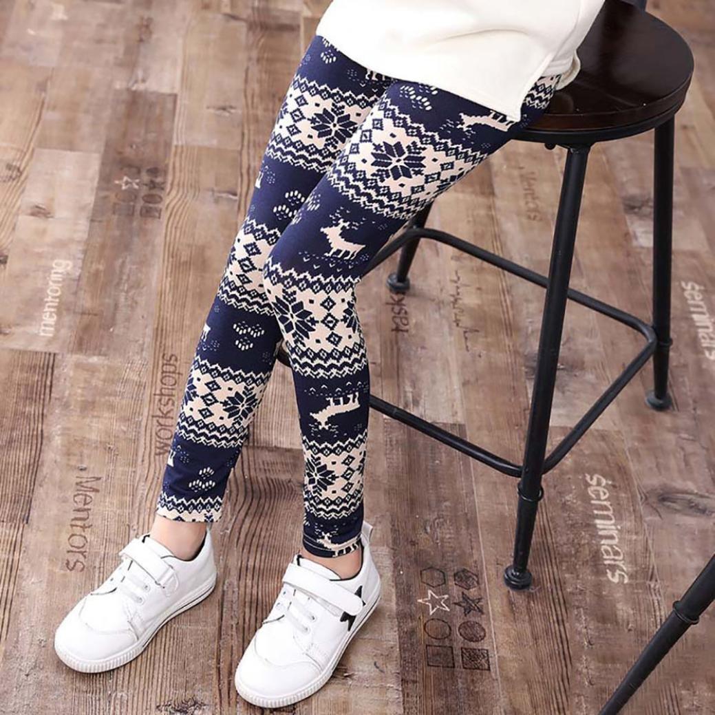 Amiley hot sale Christmas Kids Trousers Printing Leggings Flower Baby Girls Pencil Pants