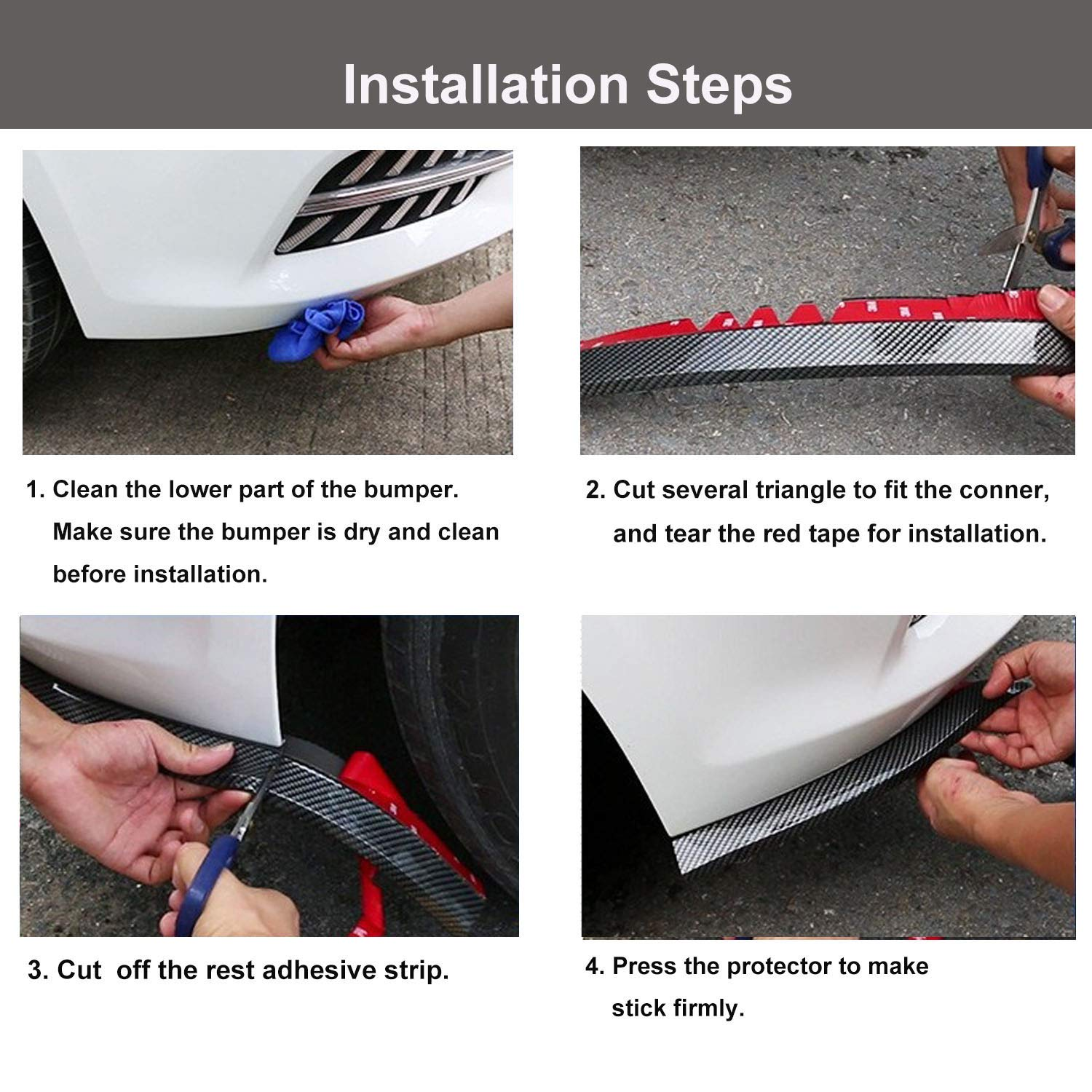 CICMOD 98//2.5M Universal Front Bumper Spoiler Rubber Skirt Protector Lip for Cars Trucks SUV Black+Red