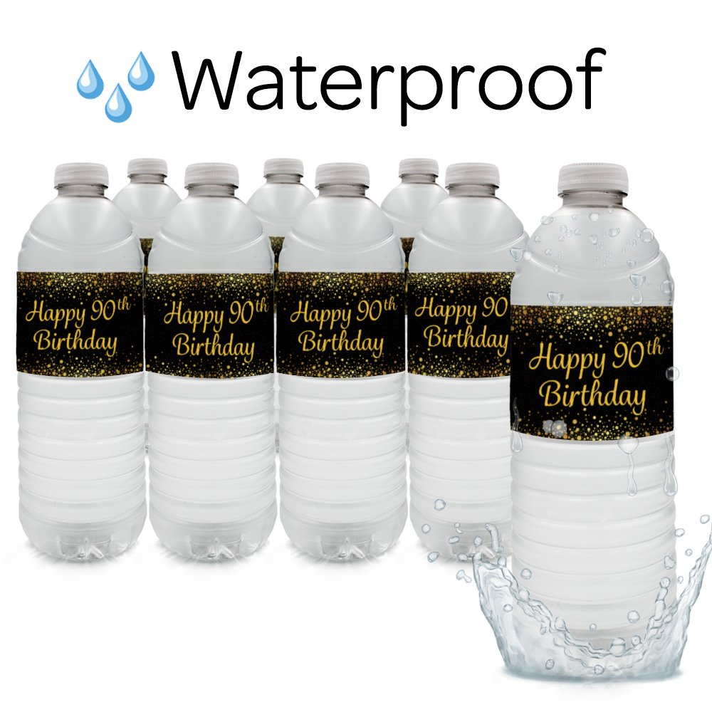 24 Count Black and Gold 90th Birthday Party Water Bottle Labels DISTINCTIVS