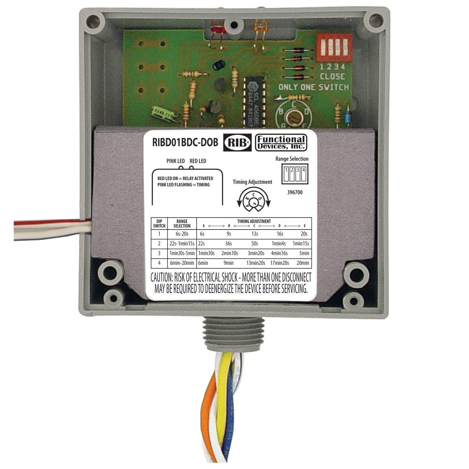 Enclosed Time Delay on Break Relay, CL 2 Dry Conta Functional Devices (RIB)
