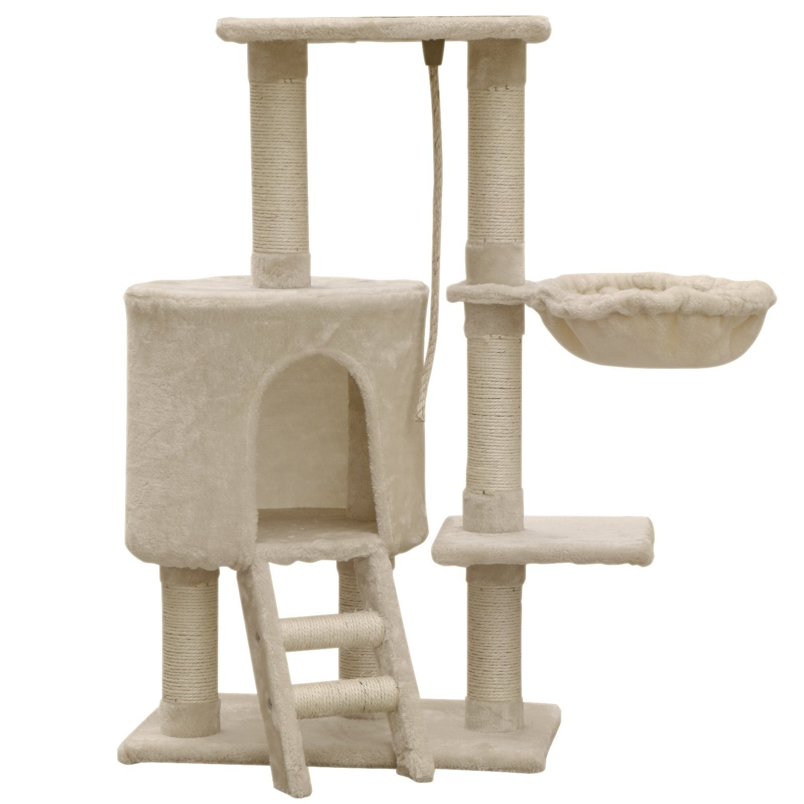 FirstWell Cat Tree Multi Level Activity Center with Kitty Condo Natural Sisal