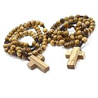 Due (2) Rosari Di Legno D'oliva Autentici in Pozzetto Di Cotone