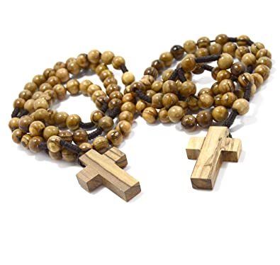 Two 2 Authentic Olive Wood Catholic Rosary Beads Necklaces From