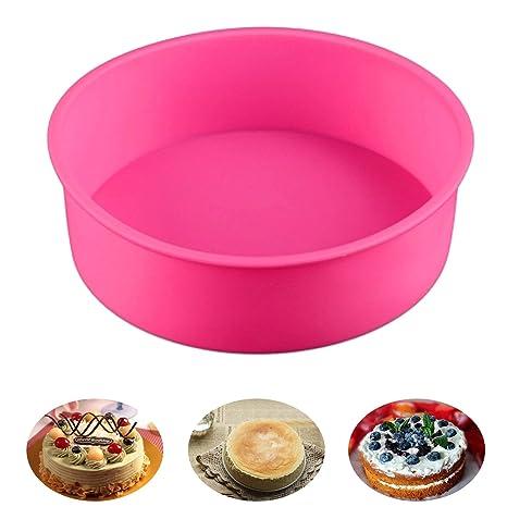 Molde redondo de silicona para hornear tartas de 20,32 cm, sin BPA,