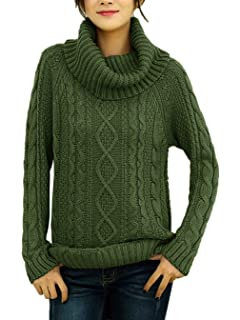 425ff36e7dcf v28 Women s Korean Design Turtle Cowl Neck Ribbed Cable Knit Long Sweater  Jumper
