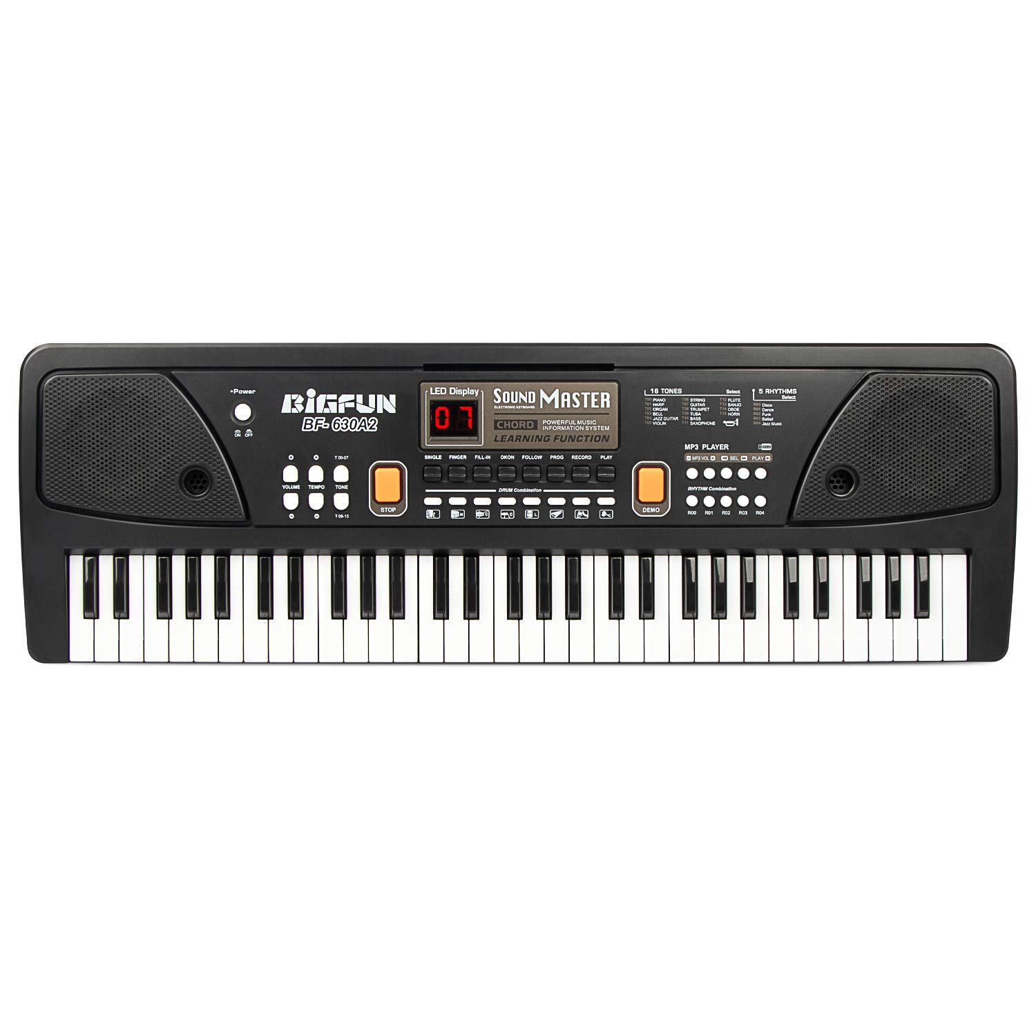 BIGFUN 61 Keys Multifunction Portable Electronic Kids Piano Musical Teaching Keyboard for Kids Children Early Learning Educational Toy with Double Speakers (Black)