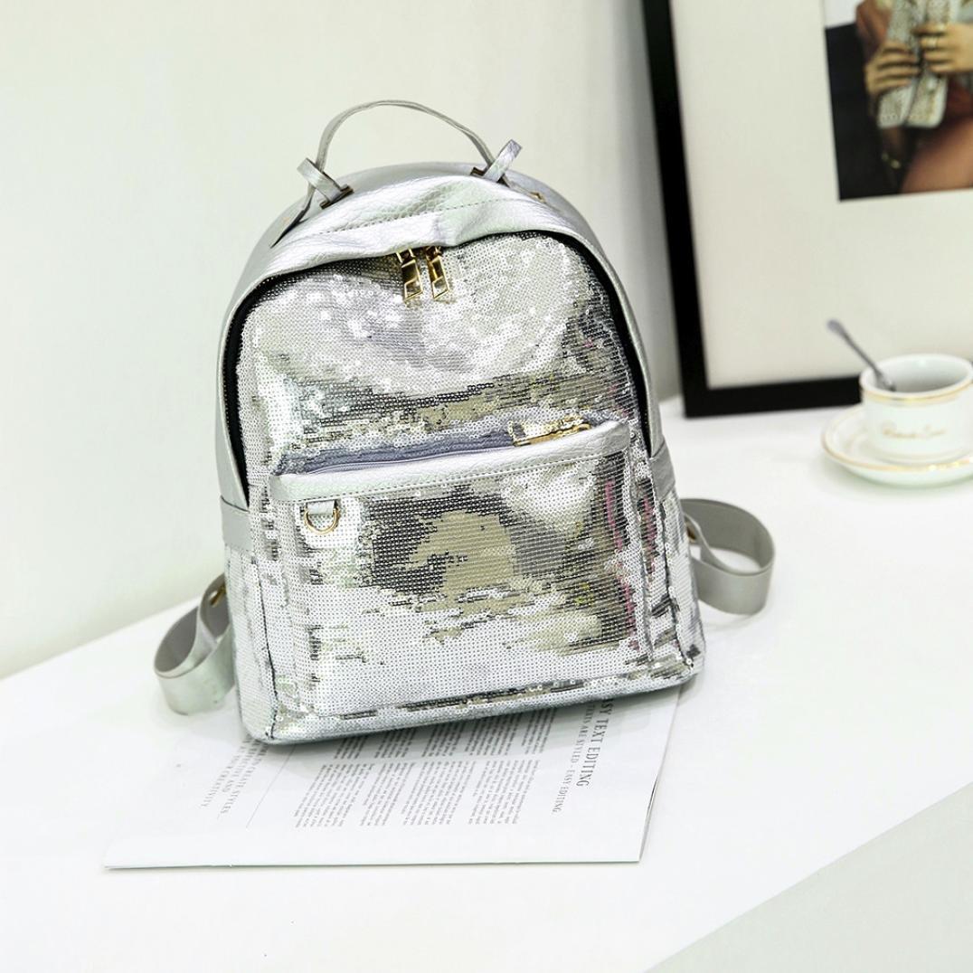 yjydadaファッションキラキラ光るスパンコールハンドバッグショルダーバッグ学校バックパックレディースガールズ B07B8LZG44 シルバー シルバー