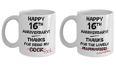 16th Wedding Anniversary.Amazon Com 16th Wedding Anniversary Gift Mug Set 16 Years