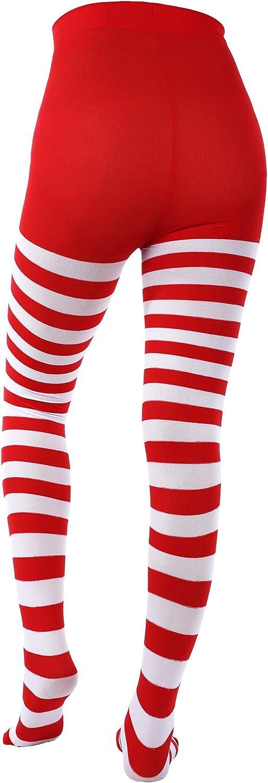 SATINIOR 3 Paia Collant a Righe Natalizi Coscia Alta Collant a Figura Intera per Cosplay di Natale