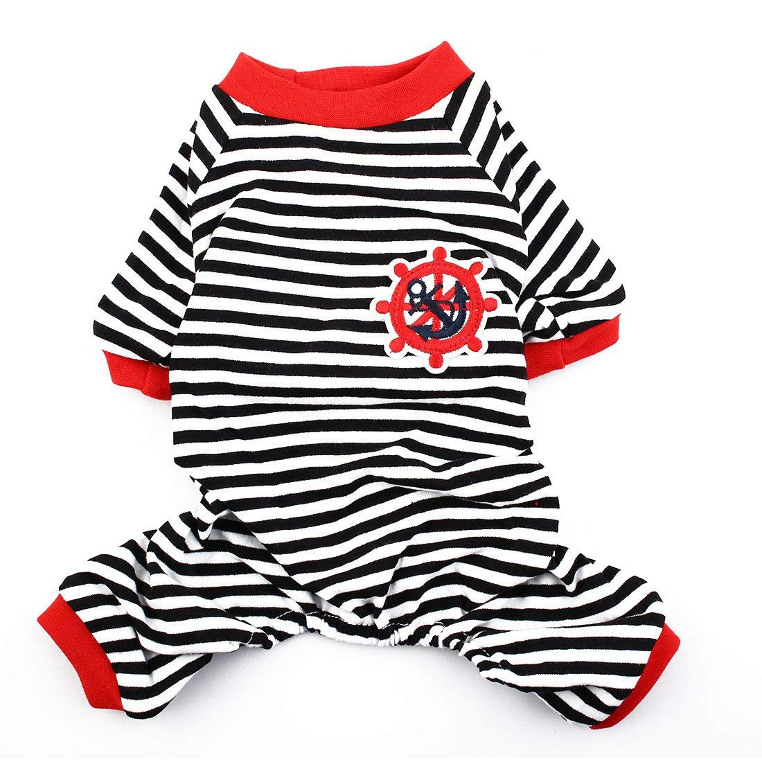 Anchor Rudder Embroidery Pattern Pet Dog Doggie Stripe Sleepwear Shirt Clothes Pajamas Apparel Size S
