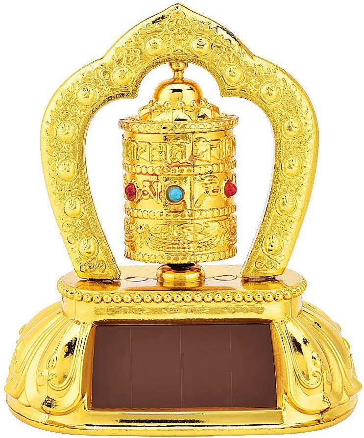Nimoa Tibetan Tibet Buddhist Solar Energy Spinning Prayer Wheel for Car Interior Decoration Prayer Wheel