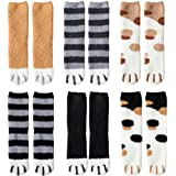 ATROPOS 6 Pair Fuzzy Cat Paw Socks Fluffy Cozy Slipper Socks Winter Sleeping Socks with Cat Paw Pattern for Women Girls…