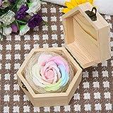 バラ型ソープフラワー Amberetech 母の日 ギフト 枯れない花 贈り物 プレゼント 木製ギフトボックス 昇進 転居など最適としてのプレゼント (ライトピンク)