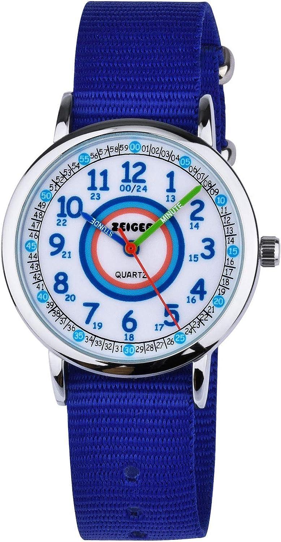 Reloj de Pulsera Impermeable Correa de Nylon Reloj Aprendizaje niña Zeiger Relojes analógicos de Cuarzo Hora del Maestro para niñas Niños Regalo de cumpleaños W109 (Azul)