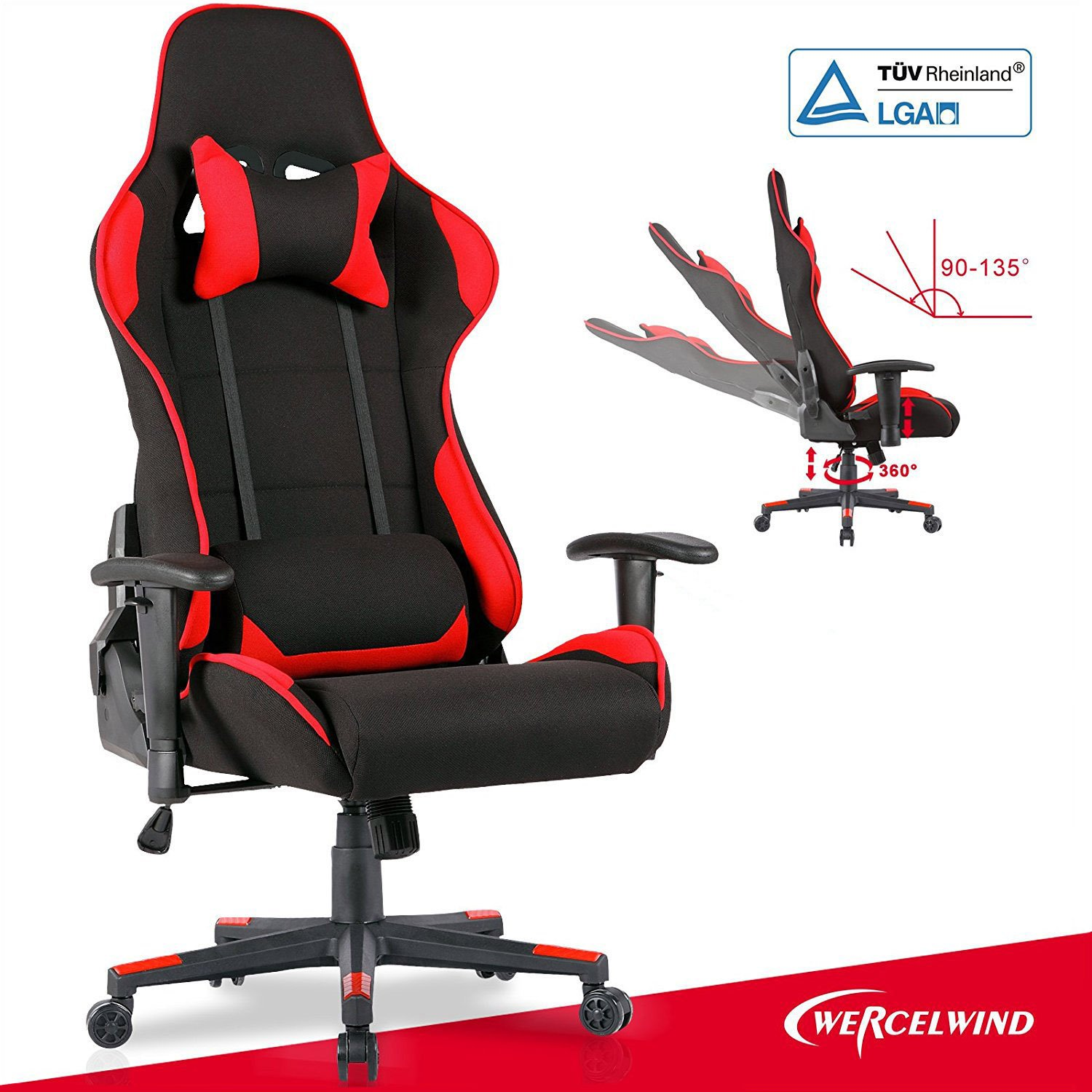 Mecor Gaming Chair, Ergonomic Swivel Racing Chair High-back Adjustable Height Leather Computer Office Chair Executive Headrest Lumbar Support Chair(black-red)