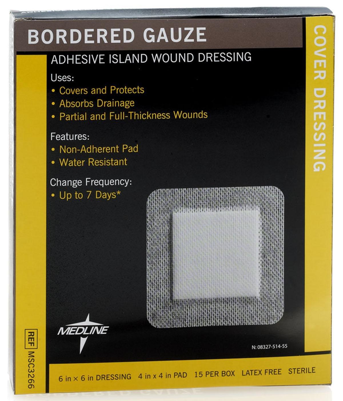 Medline MSC3266Z Sterile Bordered Gauze, 6'' x 6'' (Pack of 15)