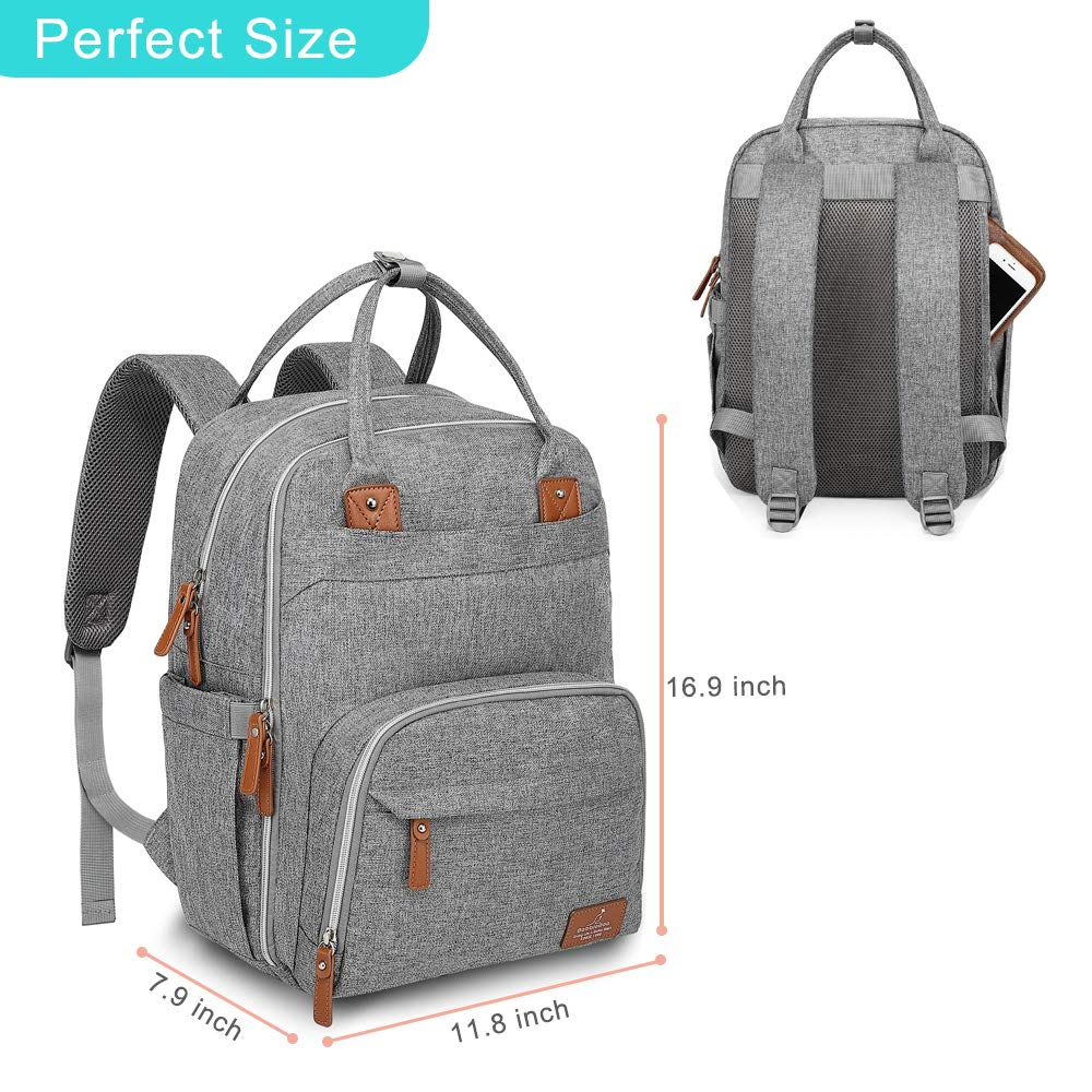 BabbleRoo Baby Nappy Changing Bags Multifunction Waterproof Travel Back Pack with Changing Pad /& Stroller Straps /& Pacifier Case Unisex and Stylish Diaper Bag Backpack Dark Gray