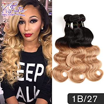 Amazon.com   Yifute Hair Malaysia Ombre body wave virgin hair blonde  bundles 4pcs  lot wholesale Ombre hair bundles 1b  27 ombre hair extensions  (16 18 20 ... 0f69922e57