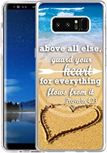 Note 8 Case Bible Verse,Hungo Soft Protective Cover Compatible with Samsung Galaxy Note 8,Bible Christian Sayings Above All Guard Your Heart for Everything Flows from It Proverbs 4:23