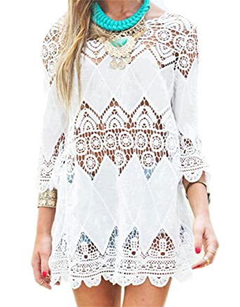 0dc9b4512f Zantt Womens Bohemian Swim Cover Up Bikini Tunic Beach Dress White US OS at  Amazon Women's Clothing store: