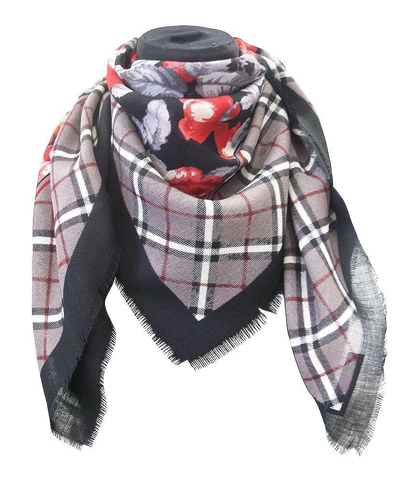 foulard dis 927411 lana 100% misura cm 90 X 90 var nero grigio rosso