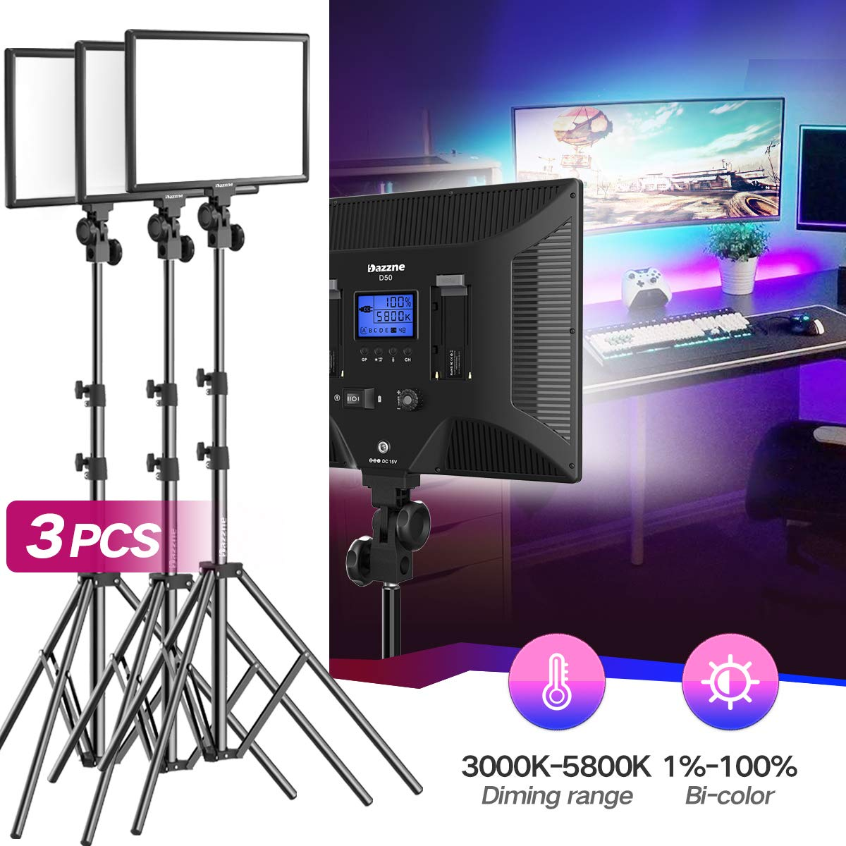 Bi-Color LED Video Light Stand Lighting Kit 3 Pack 15.4'' Large Panel 3000K-5800K 45W 4800LM Dimmable 1-100% Brightness Soft Light for YouTube Game Video Shooting Live Stream Photography Lighting by Dazzne