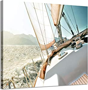 "Sailboats Pictures Seascape Arts Paintings: Yacht Against The Roaring Waves of The Ocean at Sunrise, Nautical & Sea Artwork Printed on Wrapped Canvas for Wall Decoration(24"" x 18"", Blue Coastal)"